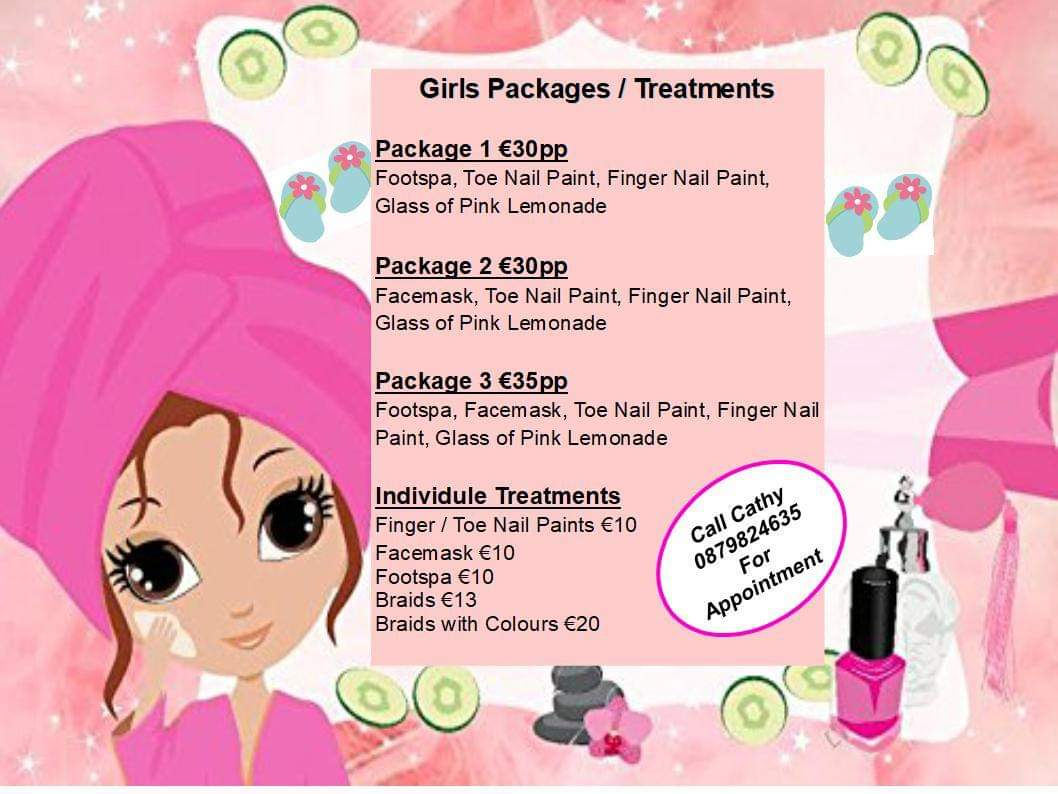 Girls packages+ treatments PAMPER ME BEAUTIFUL